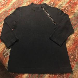 Sweater with side zip neck, 3/4 sleeves